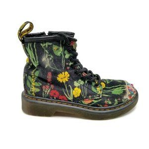 Youth Dr. Marten's Boots Black Floral Size 12Y